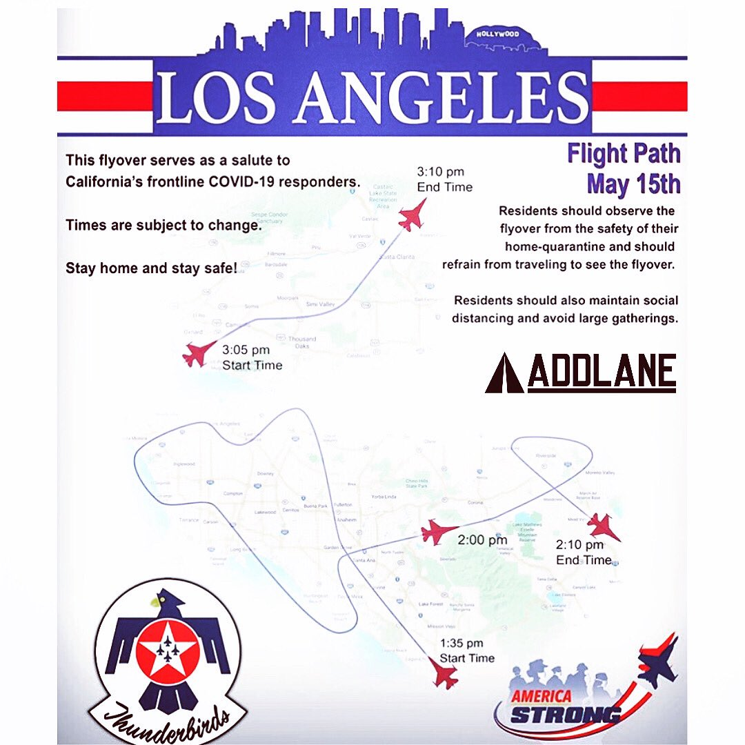 1:30PM-3PM TODAY // LOOK UP #LOSANGELES @CountyofLA // GET SOME G🕶TEAM @AFThunderbirds ‼️ WE APPRECIATE Y'ALL 🎖  #firstresponders #healthcareworkers #healthcareheroes #local #appreciationpost #appreciate #f22raptor #f16viper #f16falcon #afthunderbirds #americastrong #tgif