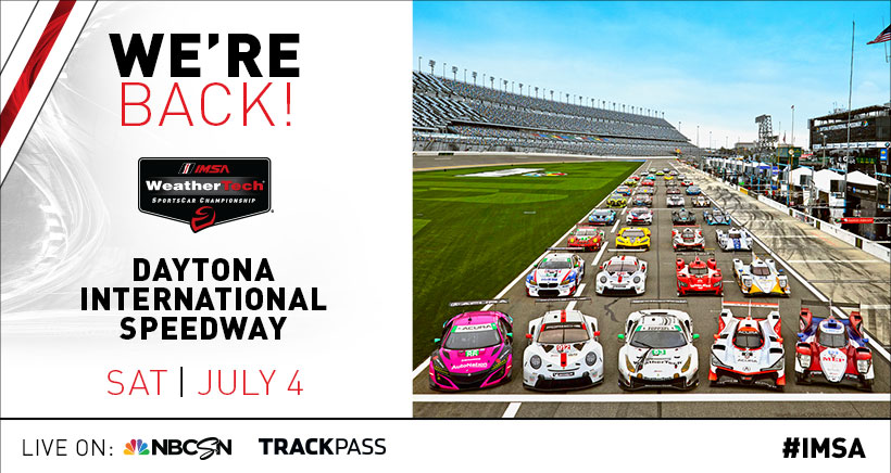 We're back!!! IMSA racing returns July 4th at @DISupdates! Check out the updated schedule here: bit.ly/3bB0sxF #IMSA / @WeatherTech / @Michelin