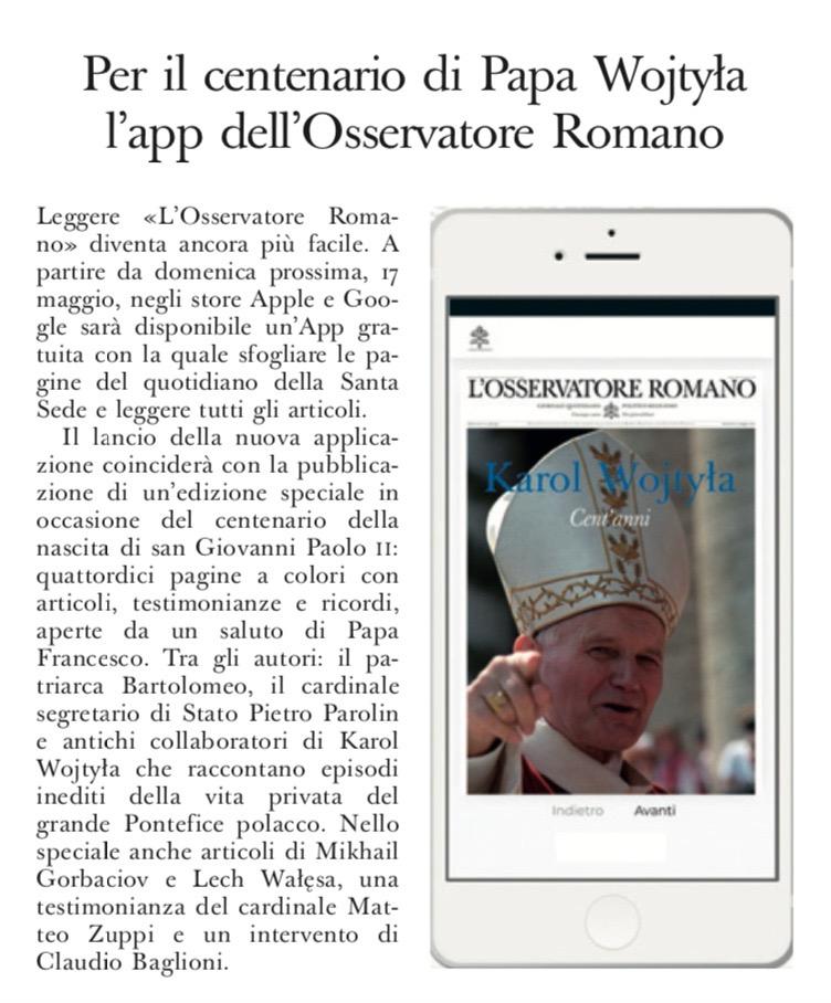 Claudio Baglioni su @oss_romano per un'edizione speciale in occasione del centenario della nascita di san Giovanni Paolo II da domenica 17 maggio. https://t.co/cJdz7Z0frV