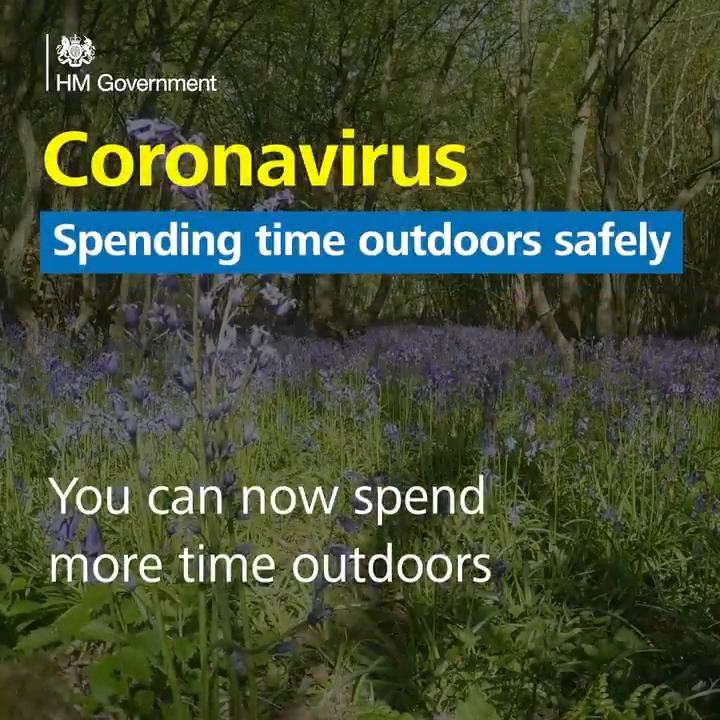 Were now able to spend more time outdoors. But we should still stay alert to the risks of #COVID__19 For guidance on spending time outdoors, visit: gov.uk/government/new…