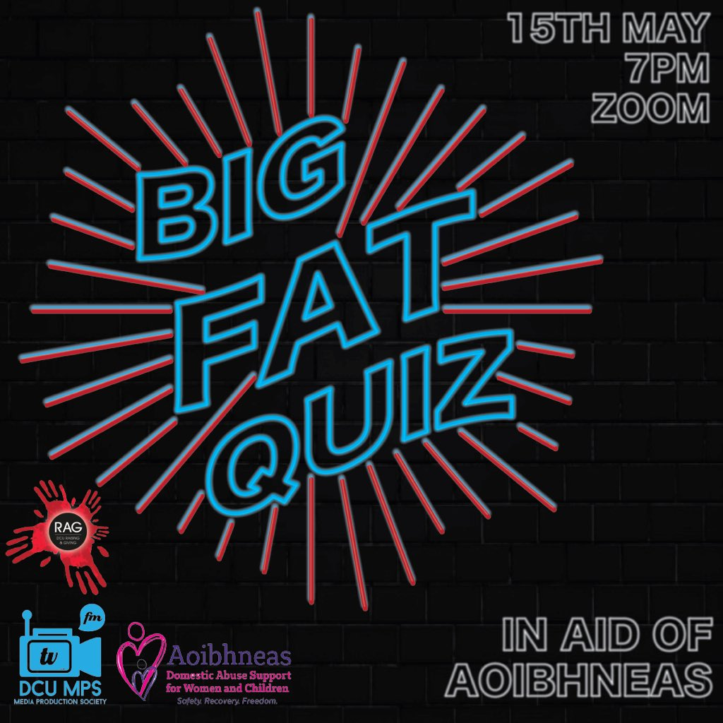 Don't forget!! We are co-hosting the Big Fat Quiz with @DCURAG at 7pm over Zoom!  The prize is a €20 @JustEatIE voucher 😋 It is also all in aid of @aoibhneas_org, an incredible charity that offers support to women & children experiencing domestic abuse (donation link in bio) https://t.co/5iJaYqJNdh