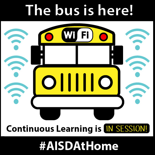 The bus is here! Continuous Learning is in session! #AISDAtHome AISD WiFi bus service will now be available to students from 8 a.m.–4:15 p.m. through May 22 to accommodate Advanced Placement testing. For more information: drive.google.com/file/d/1psGWso… #AISDProud #AISDGameChangers