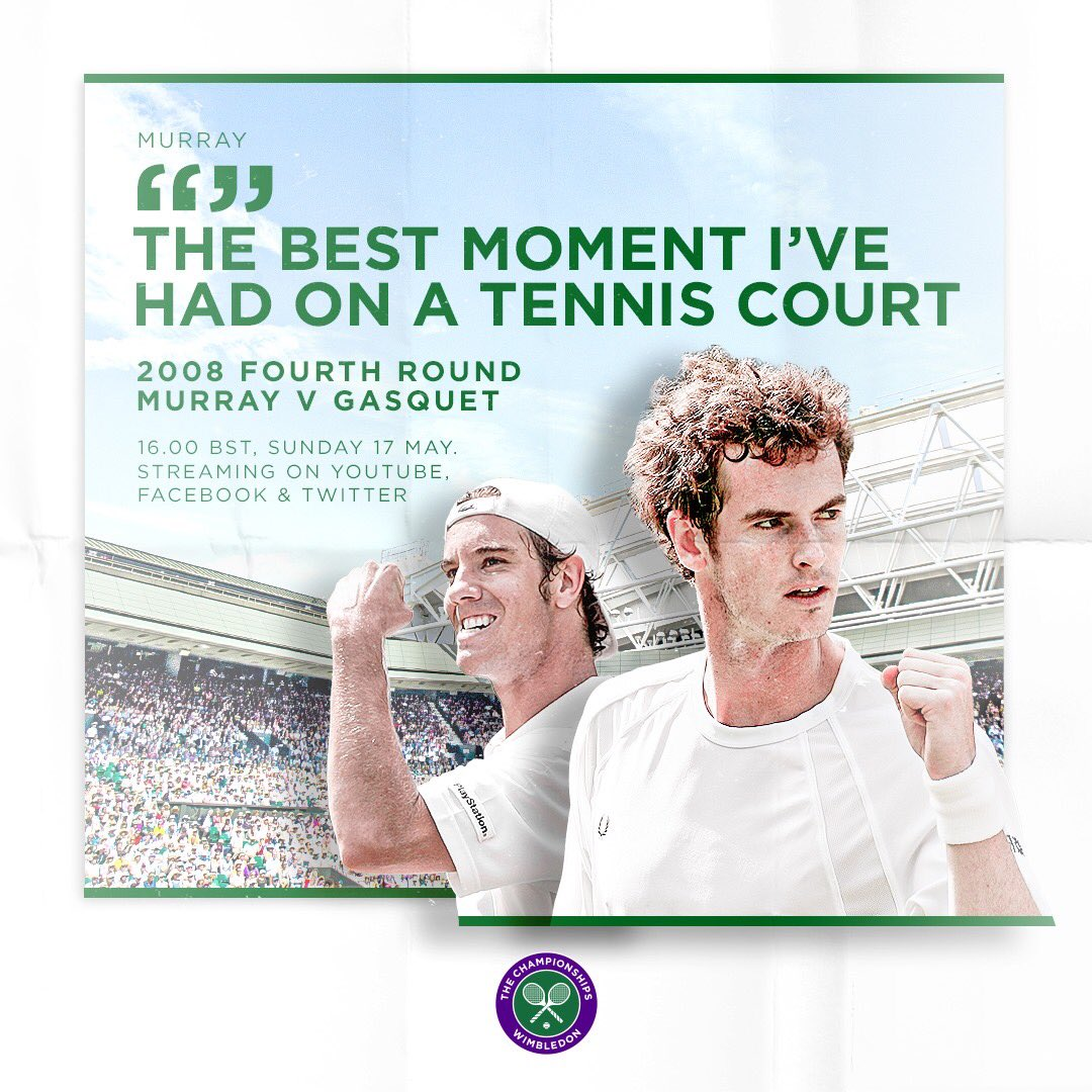Andy Murray turns 33 today - and weve got just the thing to mark his birthday weekend 🎉 Join us on Sunday (4pm BST) as we replay his classic 2008 match against Richard Gasquet - right here on Twitter 🙌 #Wimbledon
