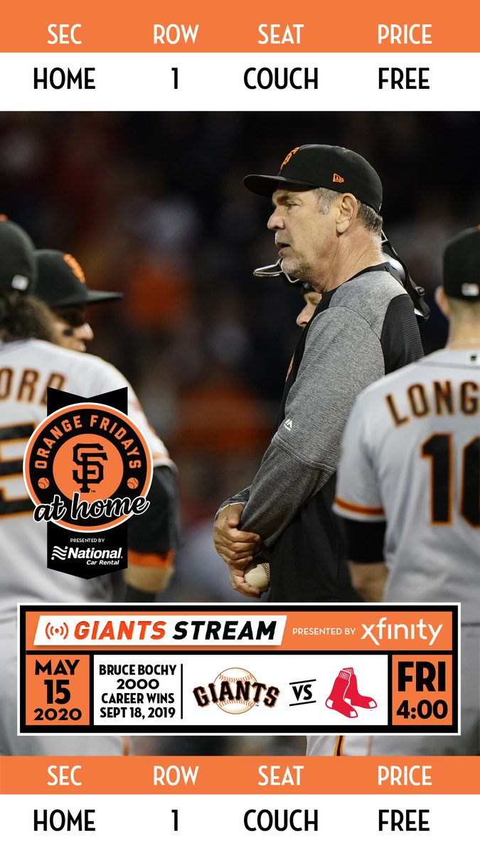 Your ticket to Orange Friday @ Home, presented by @NationalPro. Bruce Bochy gets career win #2,000 this afternoon at 4pm: Giants Stream, powered by @Xfinity #Bochy2K   #SFGiants