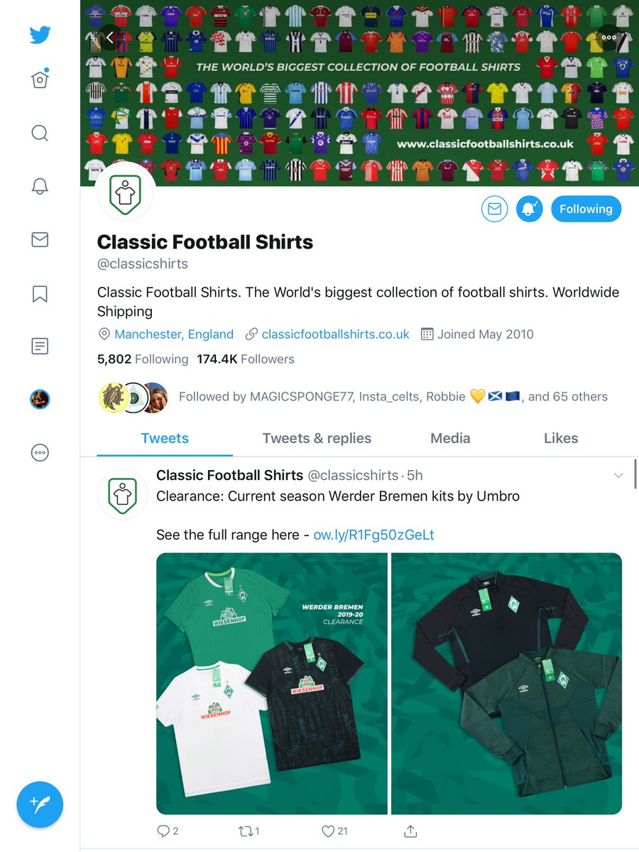 One for football Twitter now Football shirt giveaway Enter by retweeting and liking this tweet Pick a shirt of your choice off @classicshirts between £50 and £60 and I'll get it sent directly to you 😊 UK Only Ends 7th June Good luck !