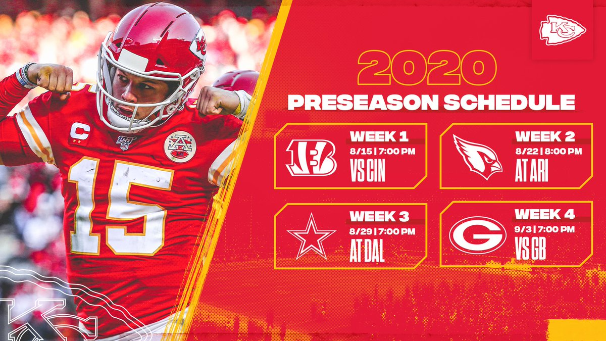 Kansas City Chiefs On Twitter The 2020 Preseason Schedule Has Been Finalized