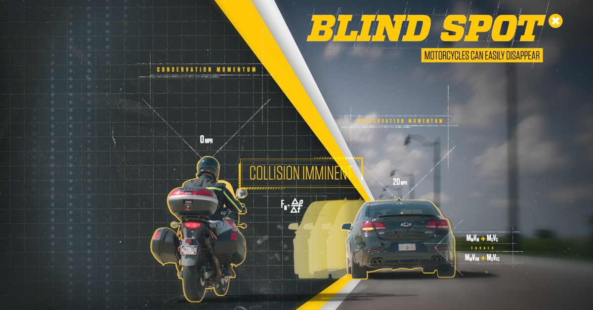 Did You Know? Almost 40% of your car is blocked by blind spots, so stay alert and #LookTwice for motorcyclists!