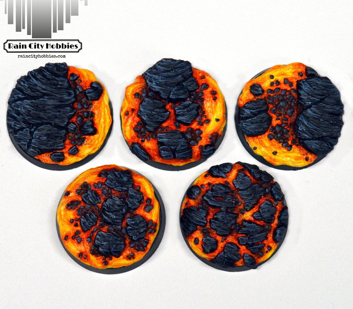 New lava bases! They come in 25, 32, 40 and 50mm sizes! These are base toppers that are just glued on top of straight sided bases (AOS,40k) Only at https://t.co/lDmJRUwIWB  #minipainting #miniaturepainting #Warmongers #miniatures #Warhammer #40k #warhammer40k #wh40k #aos https://t.co/Tt1JU1RMxw