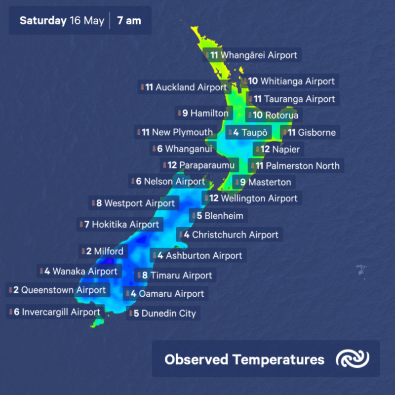 Ata mārie Aotearoa. Here are the temperatures around the country on this first morning of level 2. Find your full forecast at bit.ly/metservicenz ^AJ