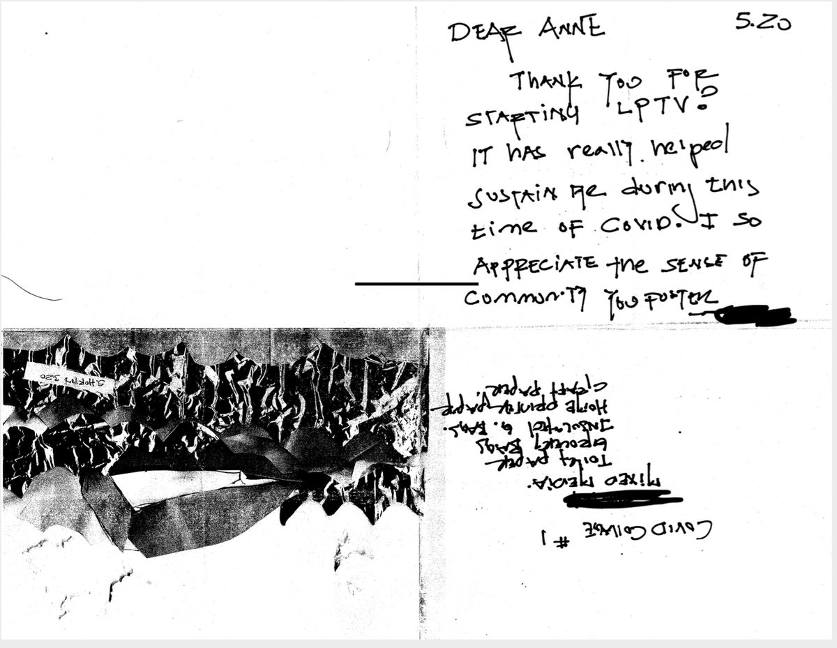 Sometimes you wonder if the work has any impact at all... then you get this letter: Dear Anne, Thank you for starting LPTV, it has helped sustain me during this time... #lpnation thank you to our #community #inthistogether #opportunityzones https://t.co/Da9yCDEzWE