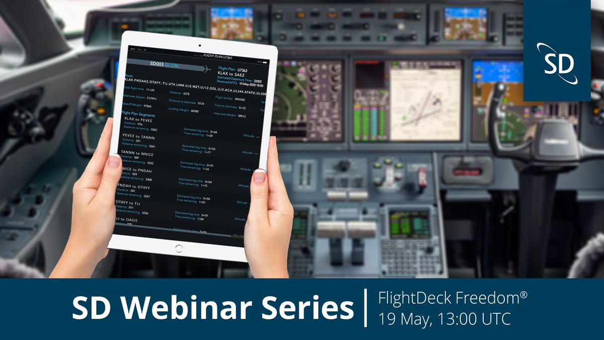 Our FlightDeck Freedom® Webinar is next Tuesday, 19 May! Join members of the Satcom Direct team to receive the latest updates on FlightDeck Freedom and discover key benefits of the versatile datalink communications platform. Register today here: https://t.co/r6Cgmx5qqa. https://t.co/JdORRqS2uh