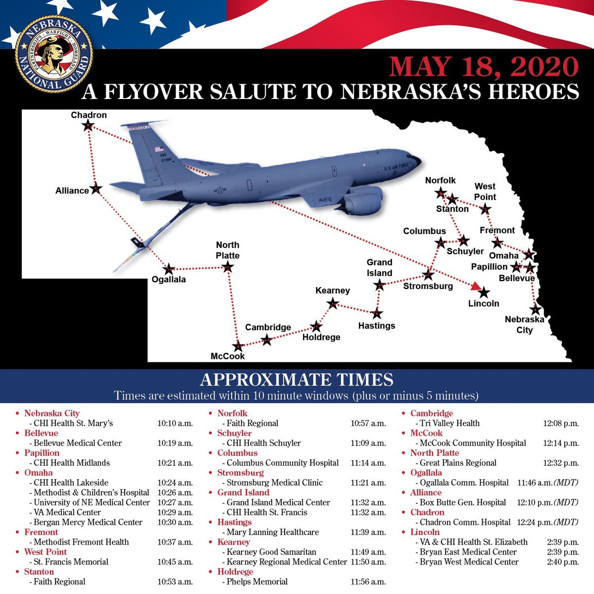 It's appears Chadron will be included in Monday's flyover from the Nebraska National Guard https://t.co/PbGOx0H33T