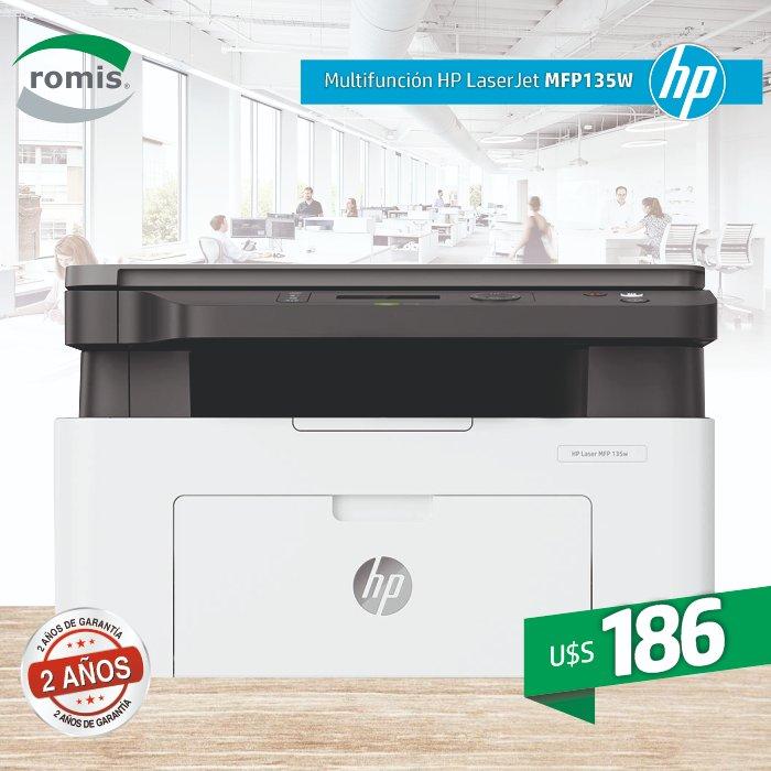 Impresora multifunción HP Láser 135w. El rendimiento de una multifunción láser a un excelente precio y con 2 años de Garantía. Sólo en Romis. ¡Comprarla ya porque se agota! https://t.co/kz0B1N10Fd https://t.co/aylTxvCbA3