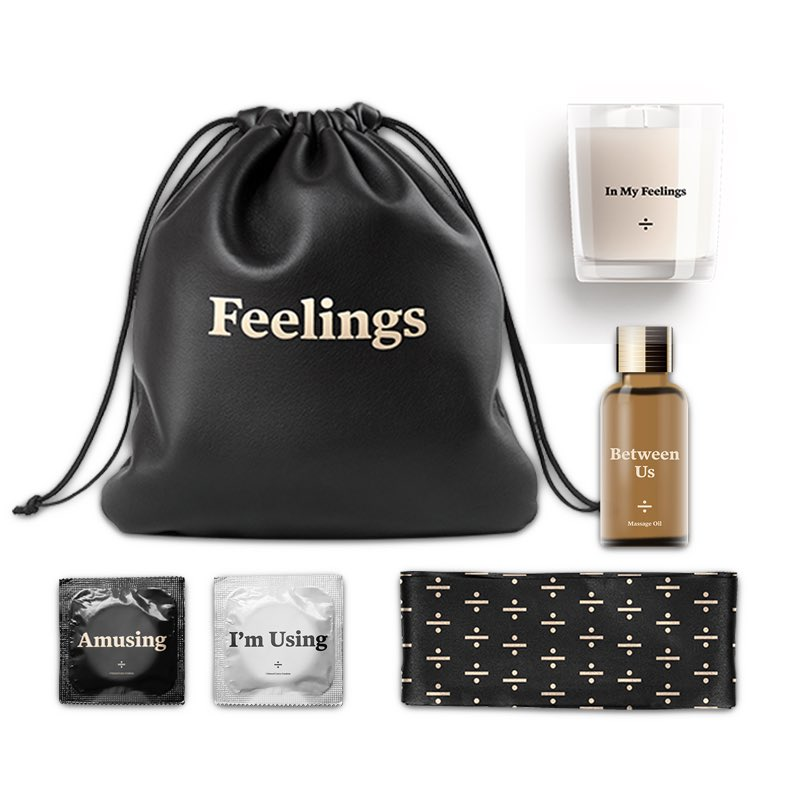 If you listen to our music you know why you need this type energy 😈➗ Find everything you'll need in your 'Feelings Kit' Complete with: - overnight pouch - blindfold - massage oil - scented candle - condoms Get yours now! Link in bio OVOSOUND.lnk.to/AMIHFMerch