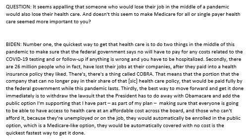 "Here's Biden on MSNBC last night talking about the need to expand COBRA ""while the pandemic lasts""; adds that he plans for a ""Medicare-like"" public option.   He was asked if COVID-19 has changed his perspective on Medicare for all:"