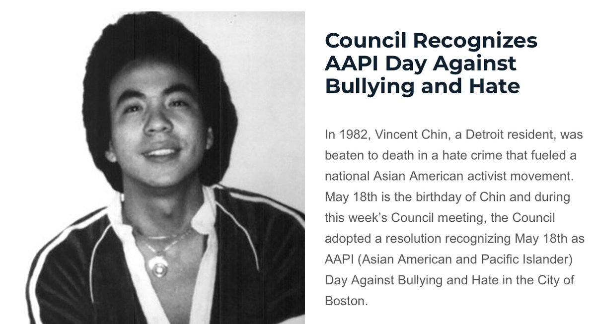 """On May 18th we remember Vincent Chin. We thank all of the partners and the activists that have continued to push for civil rights and equity across all communities,"" said Councilor @wutrain. #bospoli  Read more: https://t.co/gvnJhJ0Ig9 https://t.co/xKoZzUzjXV"