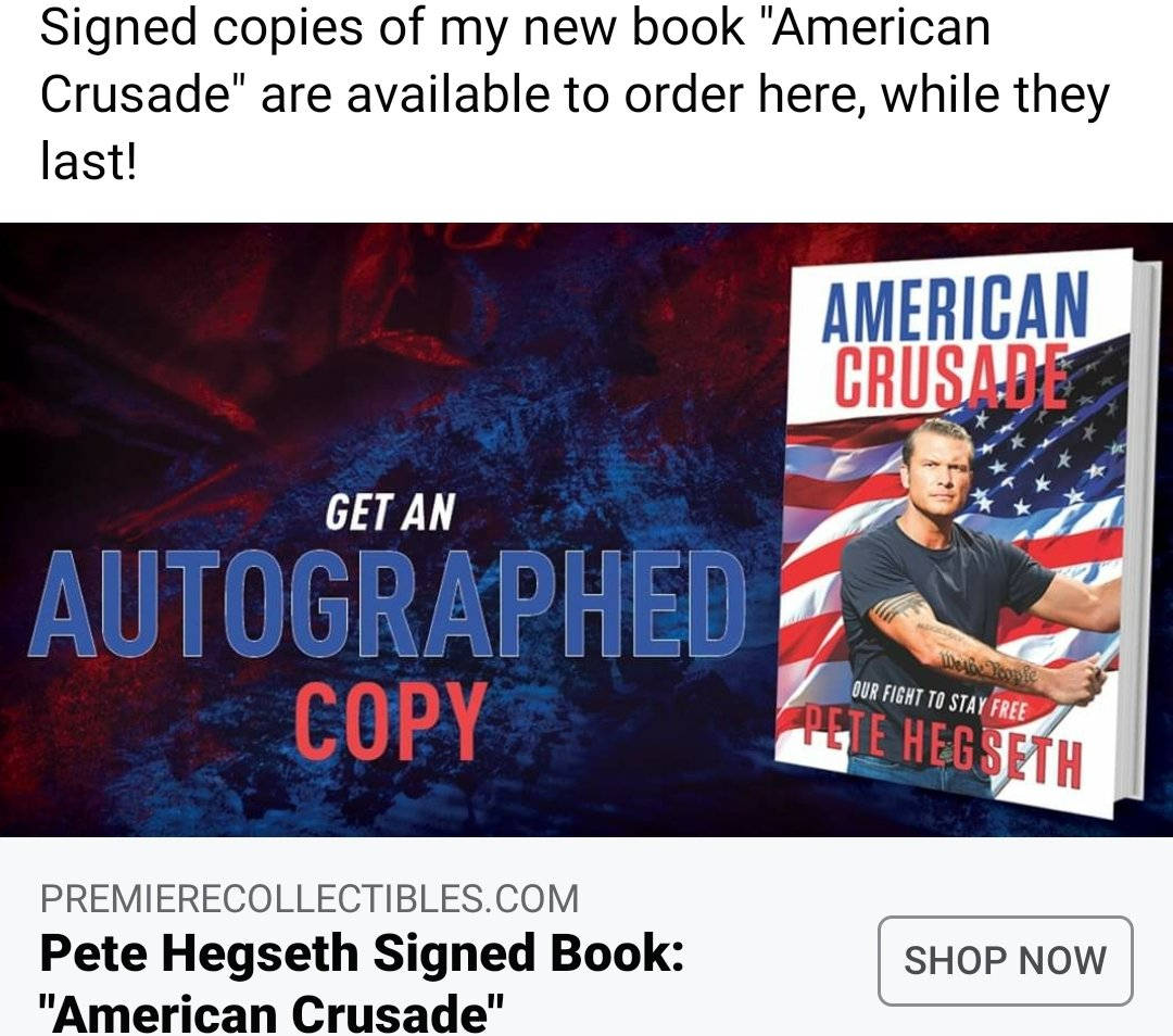 can't wait to get @PeteHegseth new book #AmericanCrusade