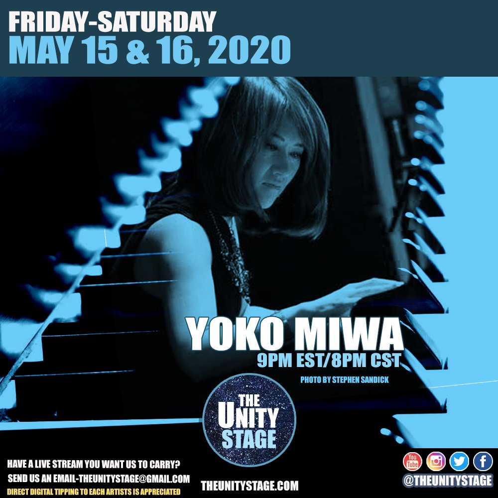 Tonight, @yokomiwa live jazz via https://t.co/cHqyfLarXI   #TheUnityStage #Coronavirus  #StayHomeBands https://t.co/sfP32yrpm5