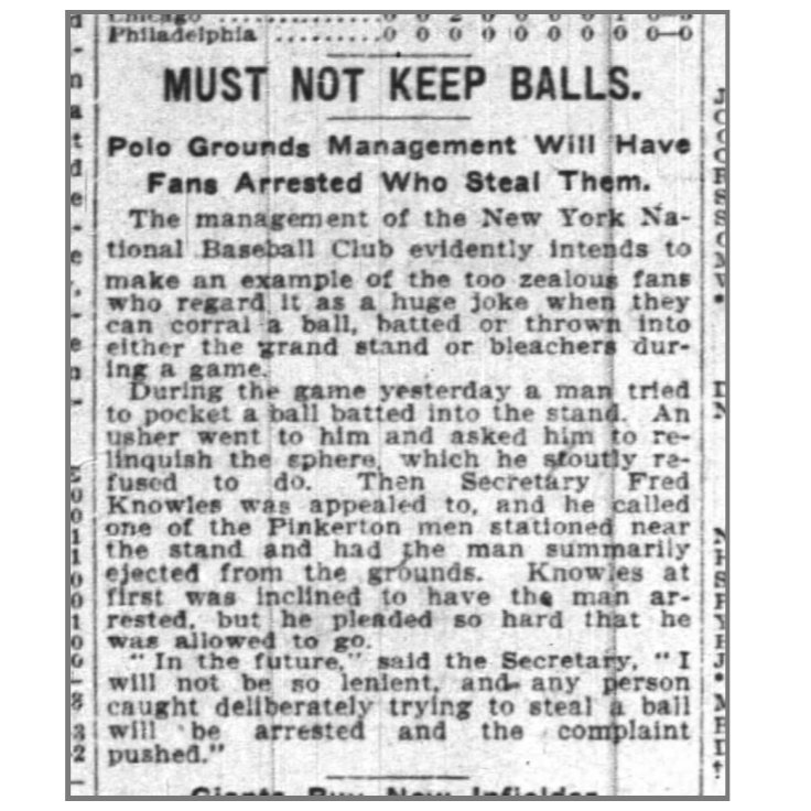 """Reuben's Rule""  NY Giants ejected Reuben Berman for refusing to return a foul ball on 5/16/21. He sued for mental & physical distress and won, leading teams to allow fans to keep foul balls  Read @sabr Reuben Berman's Foul Ball  http:// research.sabr.org/journals/files /SABR-National_Pastime-25.pdf   …   #BaseballandtheLaw 899-900<br>http://pic.twitter.com/F0erkT7CAV"