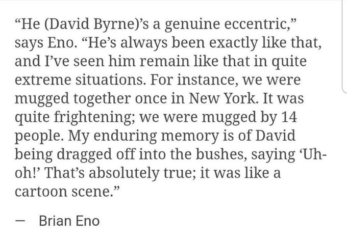 Happy belated birthday David Byrne, and happy birthday Brian Eno.