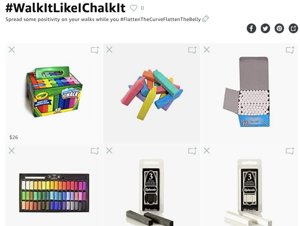 If anyone is interested in joining the #WalkItLikeIChalkIt street art team while you #FlattenTheCurveFlattenTheBelly Ive created an Amazon Idea list of chalks I use and will continue to add to it. Enjoy. #CUEcribs amzn.to/WalkItChalkIt