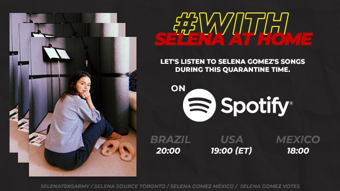 To make quarantine a little more exciting, we introduce the #WithSelenaAtHome Playlist! Listen, share and enjoy quarantine with Selena Gomez! ✨  STREAMING PARTY - TOMORROW!   Playlist: https://t.co/TgD3ijukSv https://t.co/RmsAsd3vfT