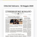 Image for the Tweet beginning: #16maggio #news L'OSSERVATORE ROMANO si