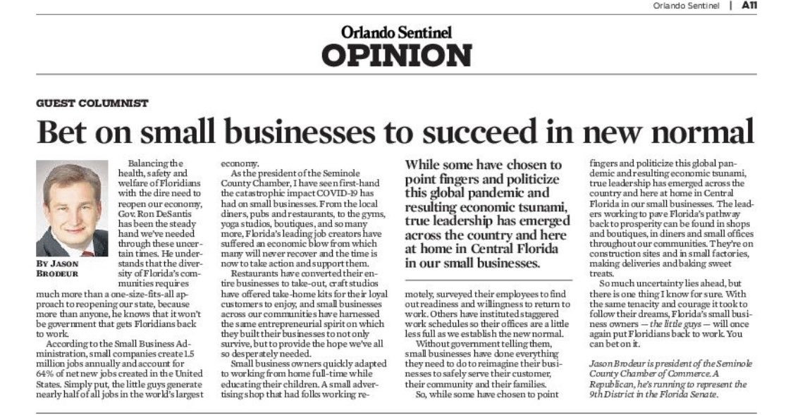 Small businesses have proven their resiliency during this pandemic. Proud to work alongside and represent many of the great small businesses in Central Florida. Great column @jasonbrodeur https://t.co/ymXQGRH5OP