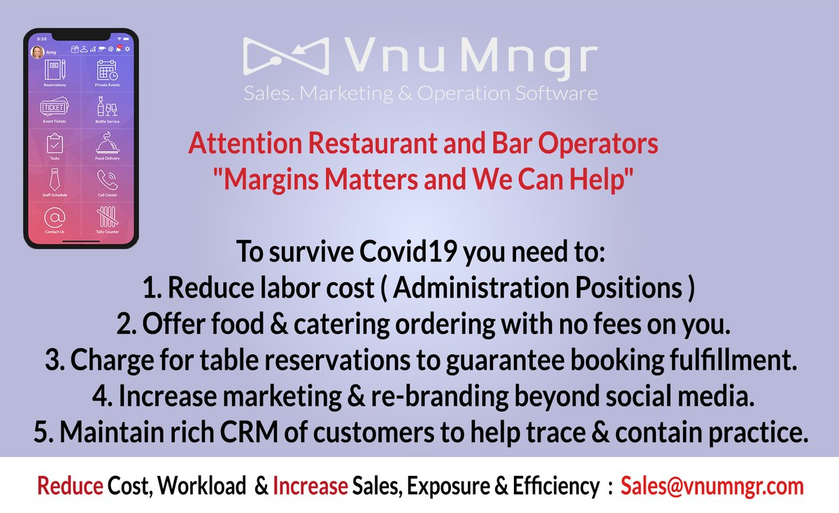"Attention Restaurants and Bars Operators ""Margins Matters and We Can Help You""  Reduce Cost, Workload & Increase Sales, Exposure & Efficiency : https://t.co/VpzlZB6pEX / Sales@vnumngr.com  #restaurants #barstoolbestbar #bars #hospitality #COVID #aftercovid https://t.co/KSiAuFlc5X"