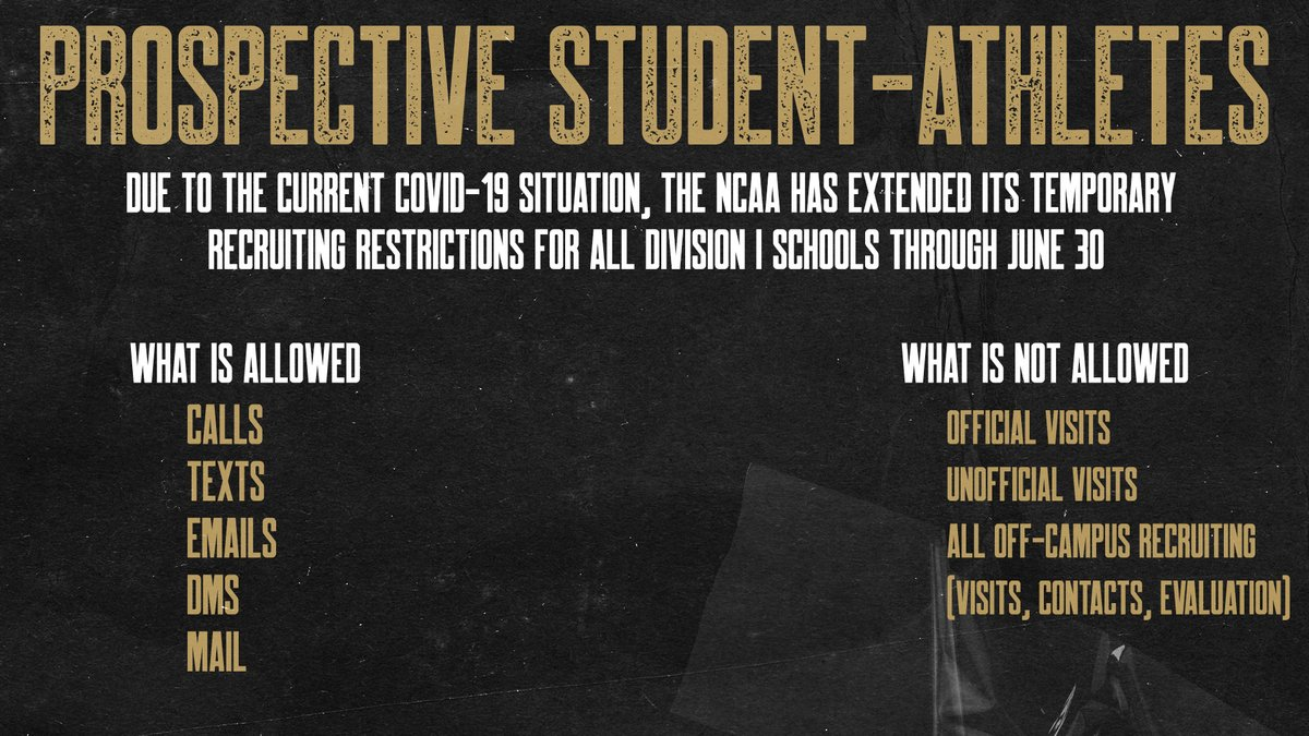 Due to the current covid-19 situation, the NCAA has extended its temporary recruiting restrictions for all Division I schools through June 30.  Follow @BUCompliance for up-to-date information. https://t.co/WkAbuR0teC