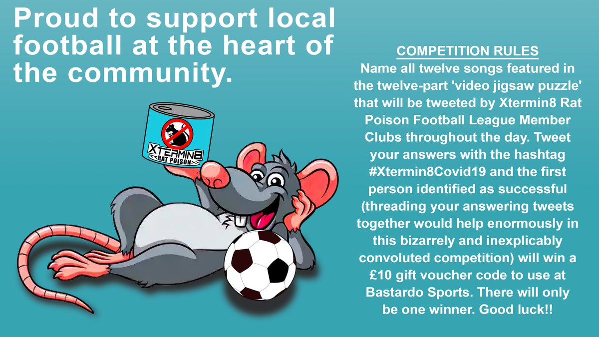 The Xtermin8 League have decided in their wisdom to announce yesterday's League Committee decision on how to conclude the season in light of the covid-19 pandemic via an elaborate video jigsaw puzzle competition featuring 'Raspo The Rat' where you can win a £10 gift voucher. https://t.co/LBBQks5I2r
