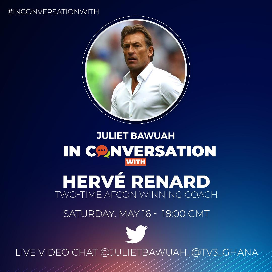 In a little over a decade in Africa @Herve_Renard_HR won the CAF Africa Cup of Nations title twice. To understand the man and his methods, Renard sits with @julietbawuah on #InConversationWith to talk about his coaching career and more. This, you dont want to miss. 6:00pm.