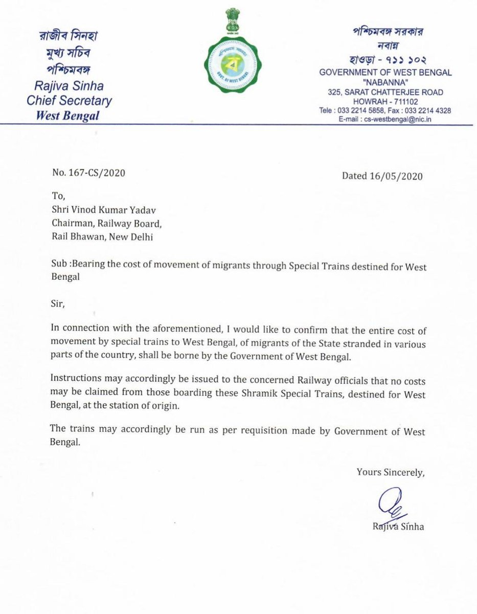 Saluting the toil faced by our migrant breathen, I am pleased to announce the decision of GoWB to bear the entire cost of movement for our migrant workers by special trains from other states to West Bengal. No migrant will be charged. Letter to Rly Board attached. https://t.co/6bdxn7fwB8