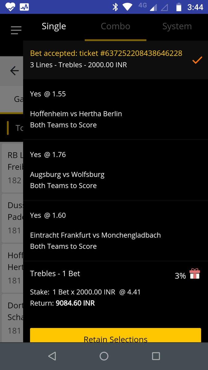 Bundesliga is back 😘😘🤑🤑 #Bundesliga #BundesligaIsBack #bundesligafantasy #Bundesliga_return #10cric Let's start with this BTTS treble.  Augsburg vs Wolfsburg Frankfurt vs monchengladbach Hoffenheim vs Hertha Berlin  Total Odds - 4.41 https://t.co/f42yYFLz2d