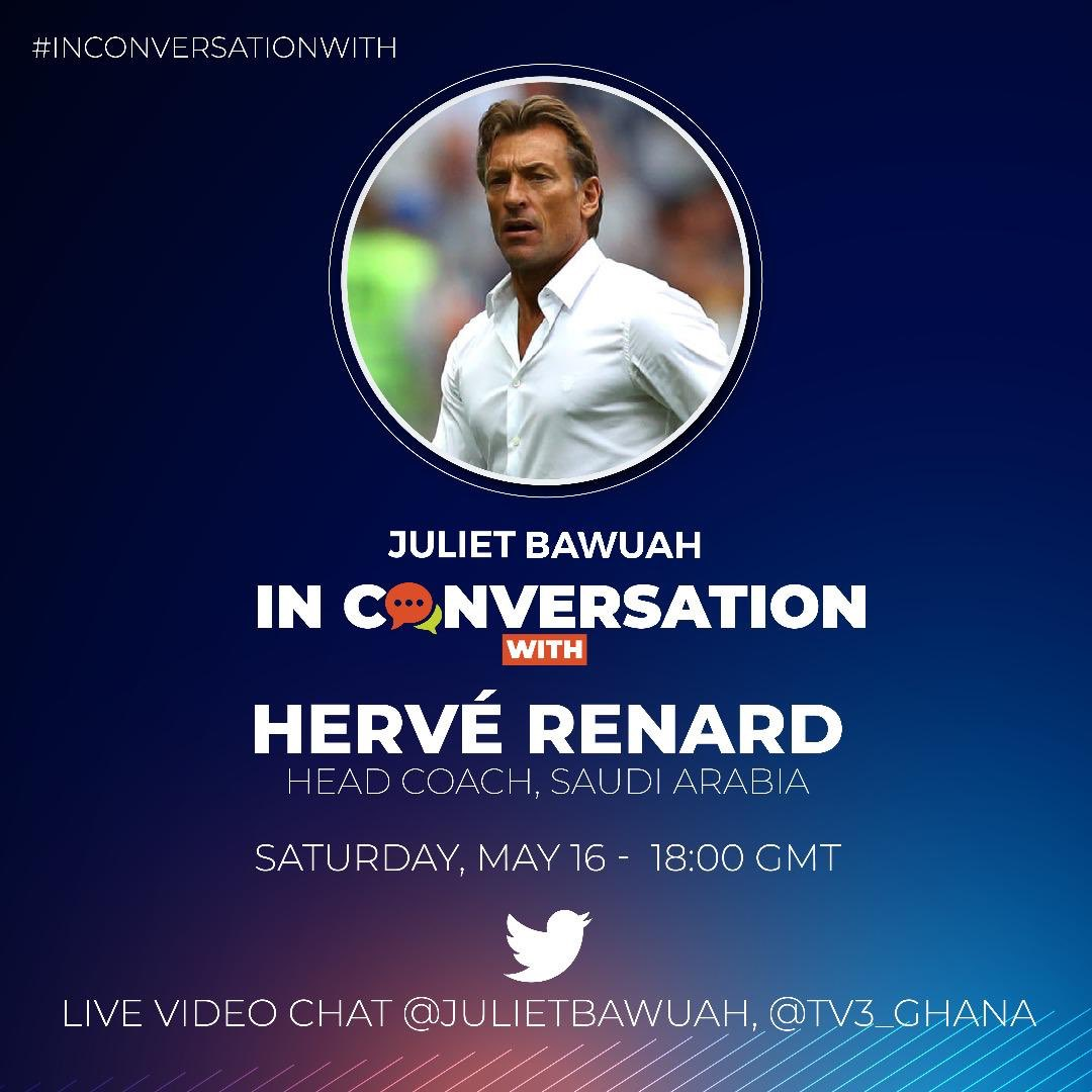 Tonight @6:00 right here @tv3_ghana with @julietbawuah with 2x AFCON WINNER @Herve_Renard_HR 👌👌👌⚽️⚽️🔥don't miss it