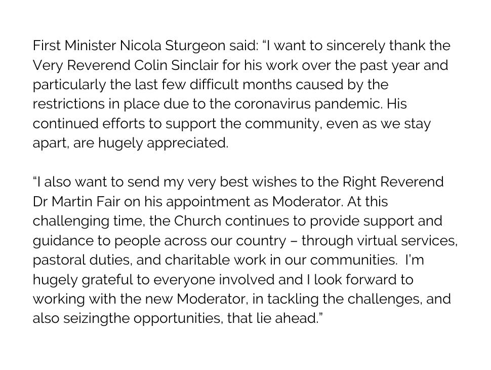 First Minister @NicolaSturgeon has sent her best wishes to Rt Rev Dr Martin Fair #GA2020