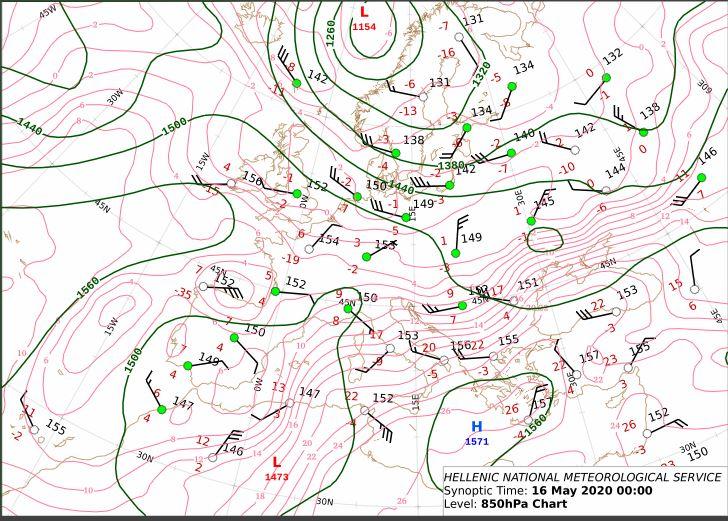Έχει ολοκληρωθεί η θερμή μεταφορά στην στάθμη των 850 hPa πάνω απο τον Ελληνικό χώρο και οι αέριες μάζες θα διατηρηθούν στα κεντρικά και νότια. Πέραν της θερμής μεταφοράς, οι καθοδικές κινήσεις του αέρα λόγω του αντικυκλώνα (συμπίεση ) συμβάλλουν στη θέρμανση της ατμόσφαιρας.