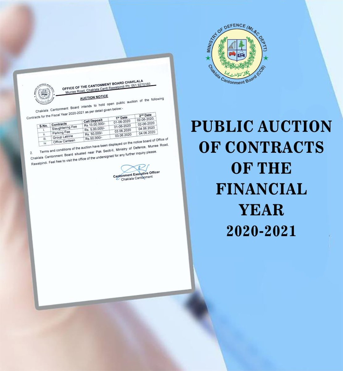 Public Auction of Contracts of the FY 2020-2021   #CBCARE #CCB #Chaklala #Rawalpindi #Rawalpindians pic.twitter.com/XjKt1x9sN6