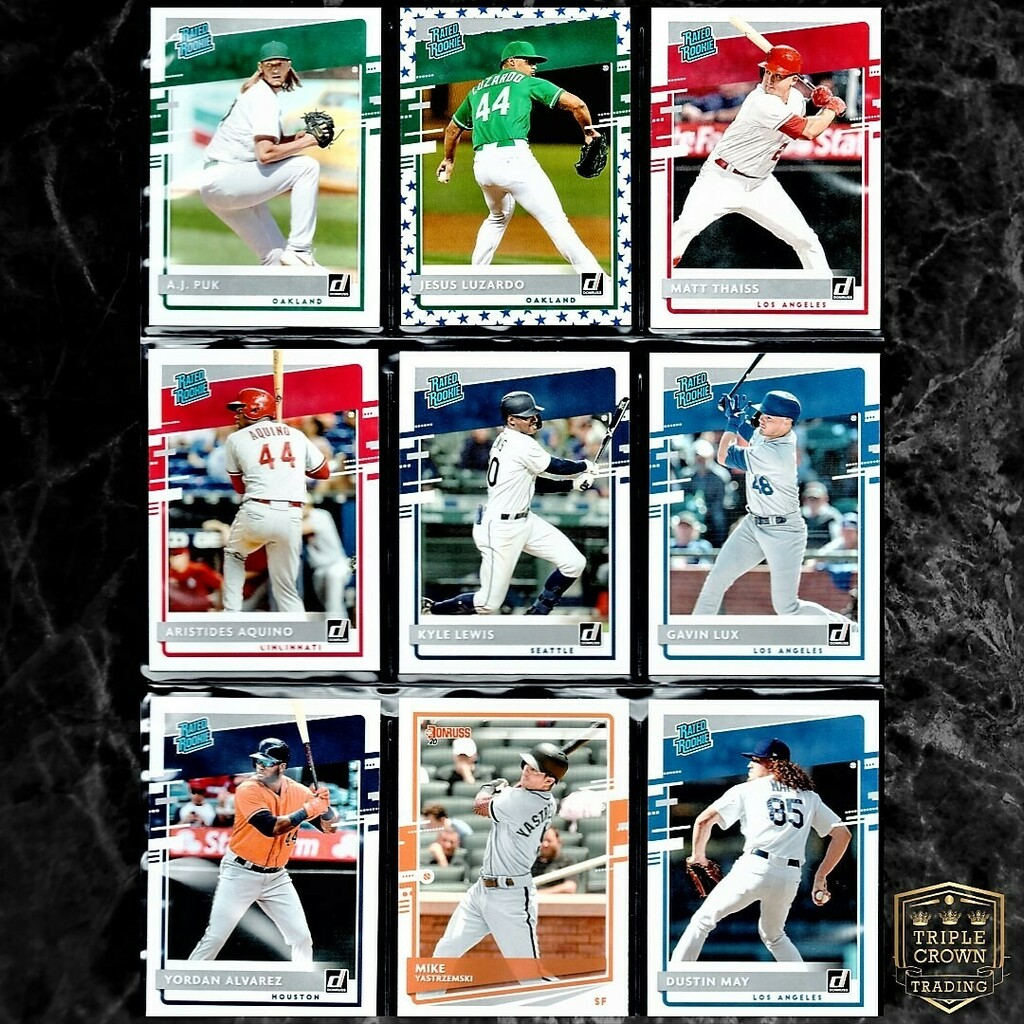 : 2020 DONRUSS BASEBALL 9 CARD ROOKIE LOT . : $13 OBO . : FREE SHIPPING (pwe) $3.50 bmwt or combined with other orders . : Comment SOLD or DM to claim . : TAG A FRIEND WHO WOULD APPRECIATE THIS CARD  . Thank you! #yordanalvarez #gavinlux #thehobby #sportscards …pic.twitter.com/1fl1dMViyi