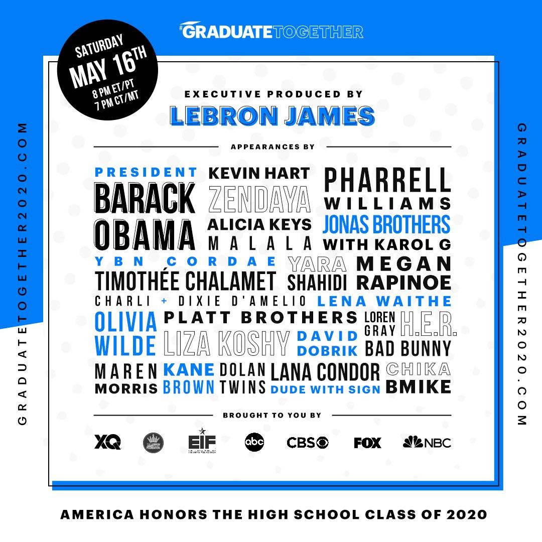 #Tonight  8PM #presidentobama #kevinhart #zendaya #jonasbrothers #aliciakeys #history in the making #commencement2020 #classof2020 #presidentobamacommencement #lebronjames                               #ObamaCommencement2020pic.twitter.com/PbtEj0QEA1