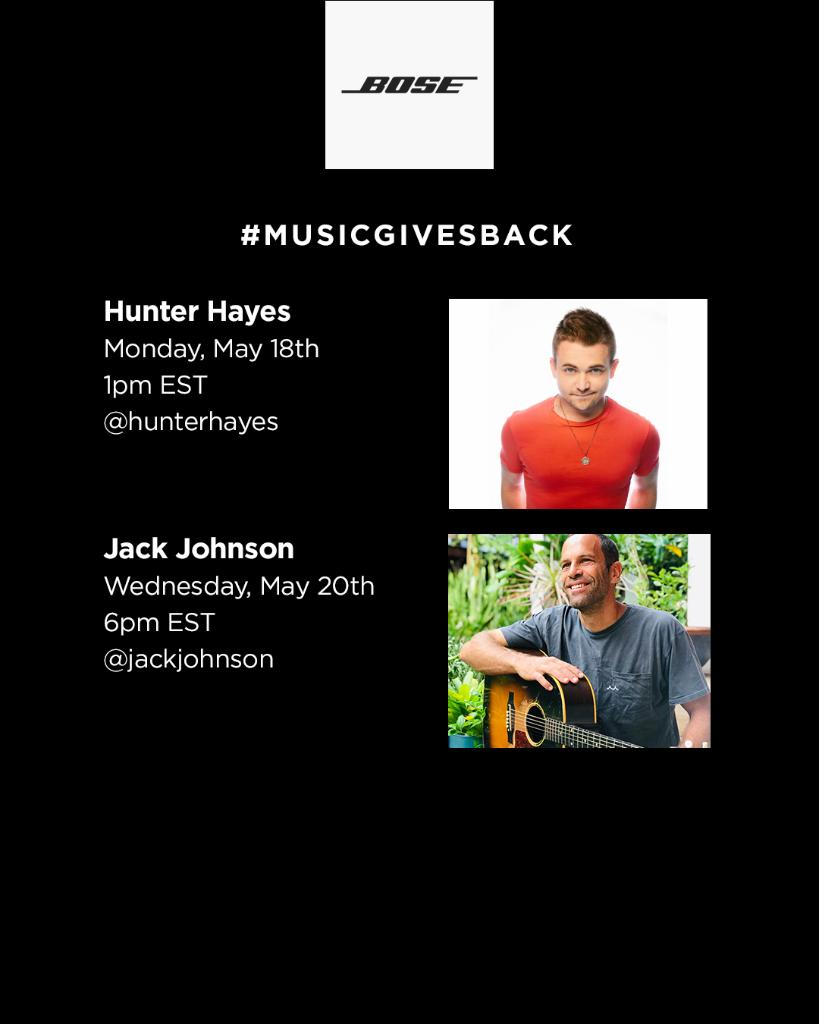It's the final week of our #MusicGivesBack initiative! Don't miss @HunterHayes and @jackjohnson take it home while we donate to charities of their choosing. And don't worry, we'll still be featuring more live lessons moving forward. Stay tuned for more details! https://t.co/O45mFyeVGR