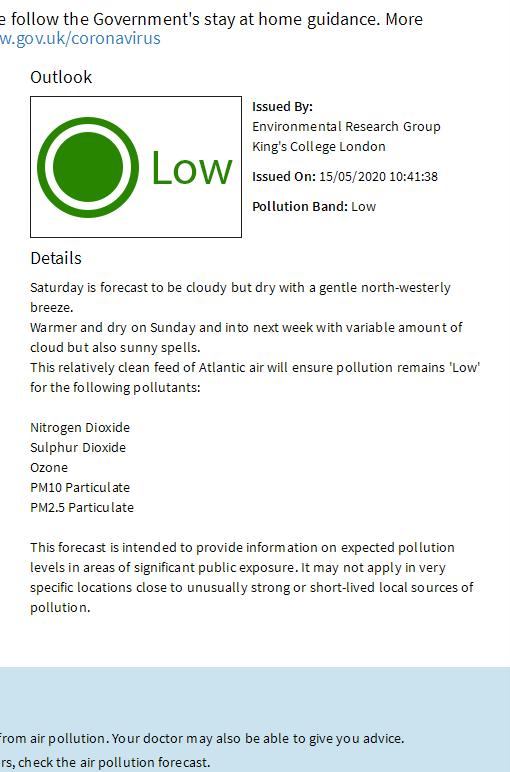 Tomorrow's pollution forecast @LondonAir londonair.org.uk/Londonair/Fore…