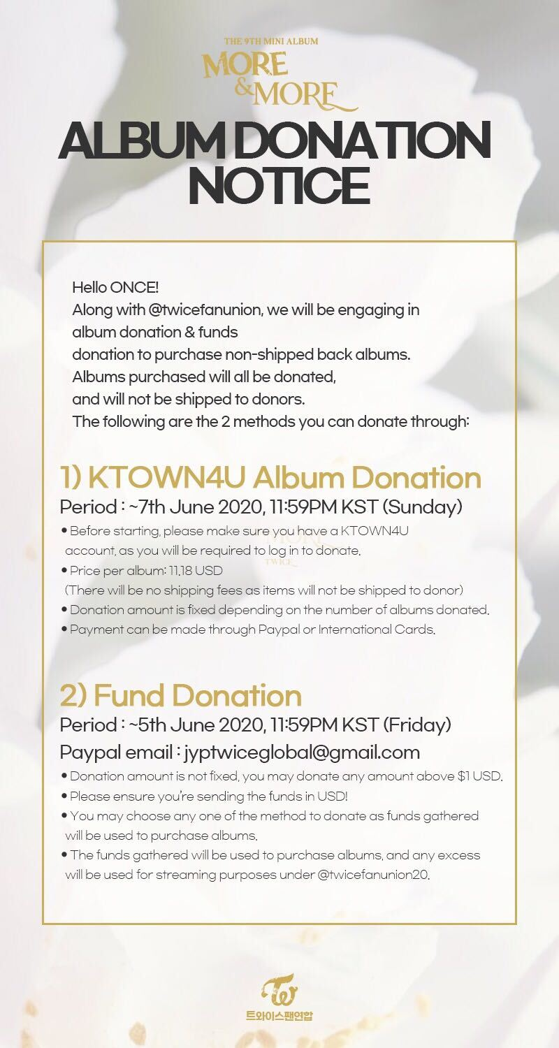 Twice Global On Twitter Donation Notice Twice Mini Album Vol 9 More More Album Fund Donation With Twicefanunion Album Donation Https T Co Drnypcqkyx Please Refer To The Notice Attached For More Details