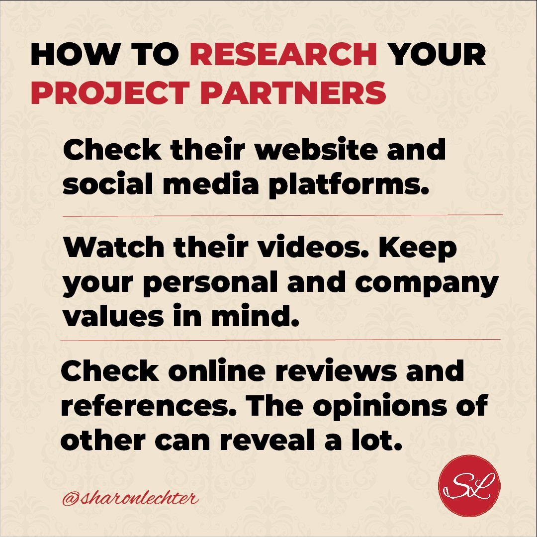 (1/4) Here are the steps I take when I research my possible project partners: https://t.co/mTd0IVkBxJ
