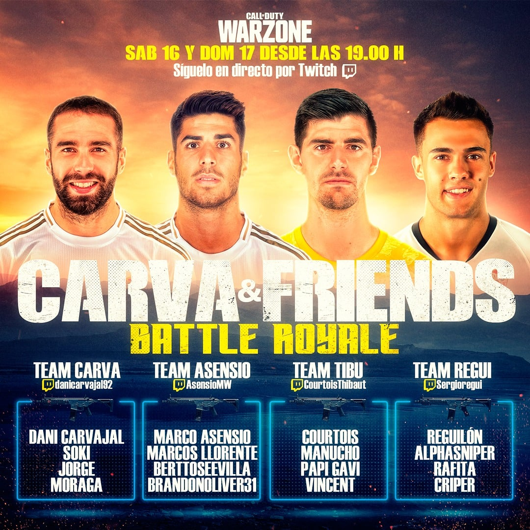 Finally playing together with @DaniCarvajal92 again, although it's still virtually for now 🎮. Join us tonight at 19:00 CET for a Battle Royale! #CarvaAndFriends #CoD https://t.co/kGhMQ2BQi2