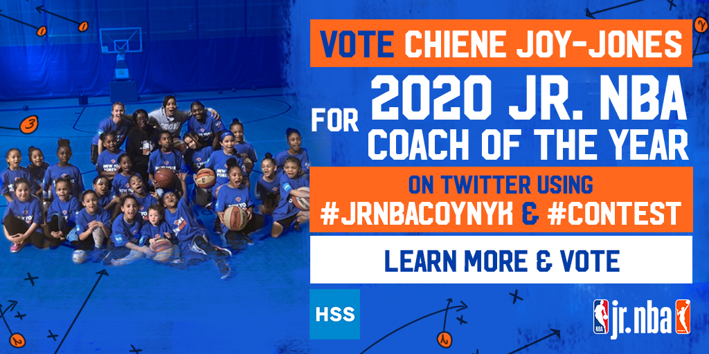 TWO DAYS LEFT TO VOTE!!!!  For @HSpecialSurgery Junior Knicks Coach of the Year Chiene Joy-Jones to become the 2020 @jrnba Coach of the Year!! TWEET NOW #JrNBACOYNYK #contest  @nyknicks https://t.co/iOJ21DaAYu