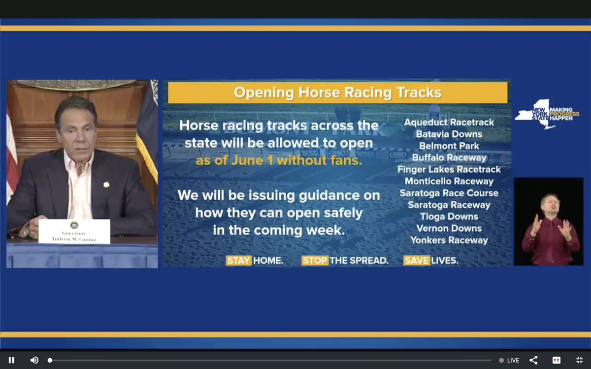NEW: @NYGovCuomo announced the opening of racetracks across the state.  We can still generate economic activity and recreational activity without crowds and gatherings. https://t.co/arl78EmFTb