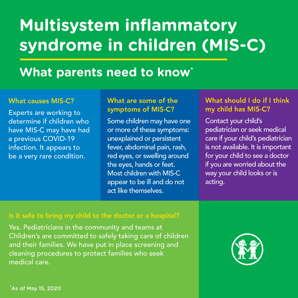 Multisystem inflammatory syndrome in children (MIS-C) is a rare condition that has recently been in the headlines. Pediatric experts, including those on our team, are working to understand whether or not some affected children may have had a previous COVID-19 infection.