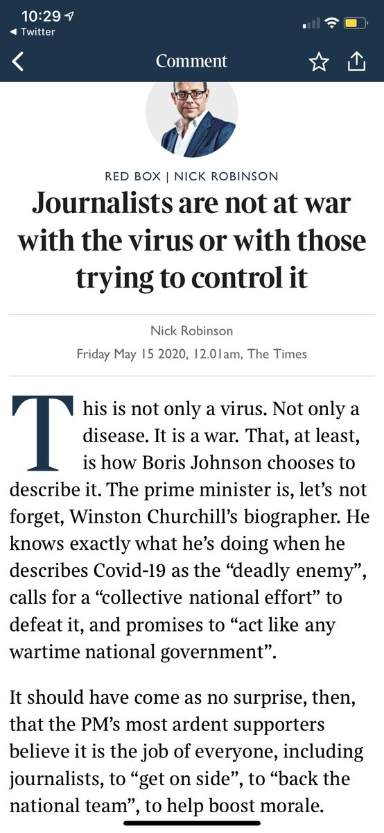 Journalists are not at war with the virus or with those trying to control it. My @thetimes article on journalism now posted as a thread (apologies for earlier mix up) (1/6)