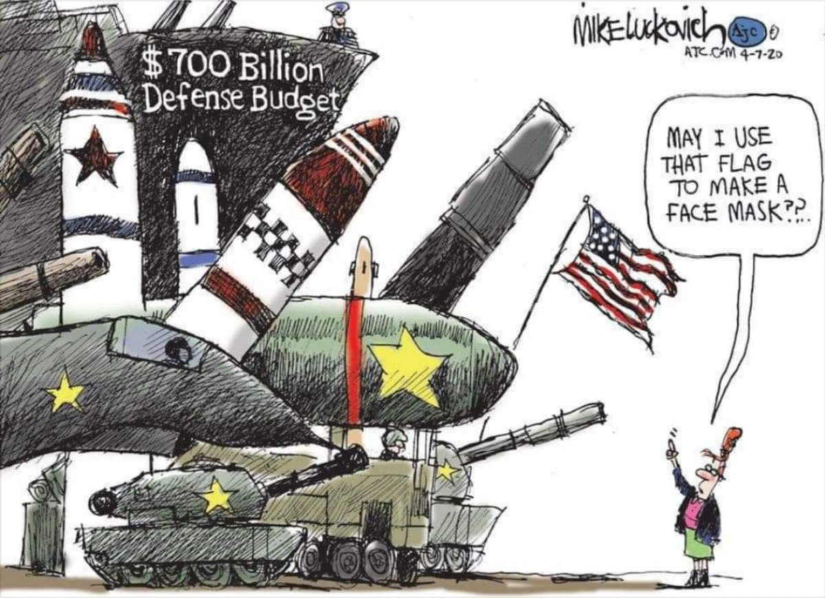 """Great visual. Yes, over $700 billion for Pentagon but not enough $$$ for PPE. Let's redefine """"national security."""" #HealthcareNotWarfare"""